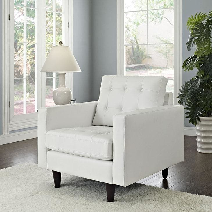 Modway Furniture Empress Bonded Leather Armchair White EEI-1012-WHI