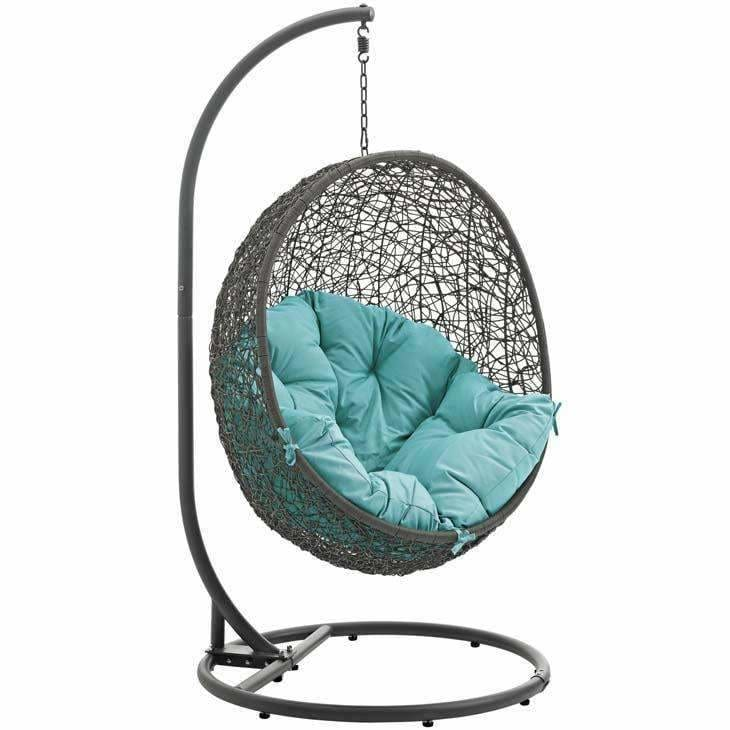 Modway Furniture, Modway EEI-2273 Hide Swing Chair with Gray Stand,