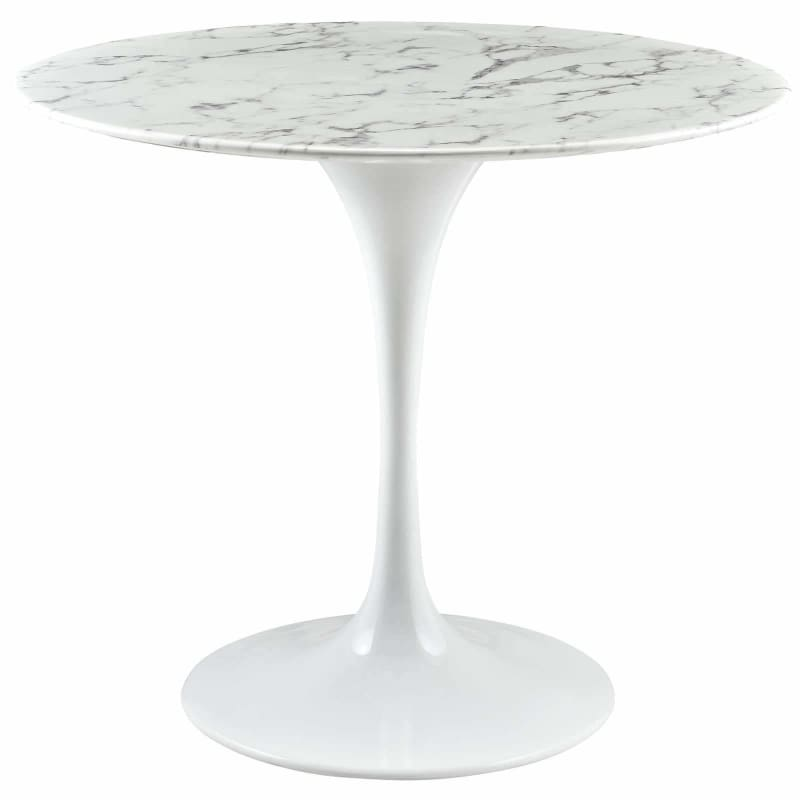 "Modway Furniture, Lippa 36"" Round Artificial Marble Dining Table EEI-1129-WHI,"