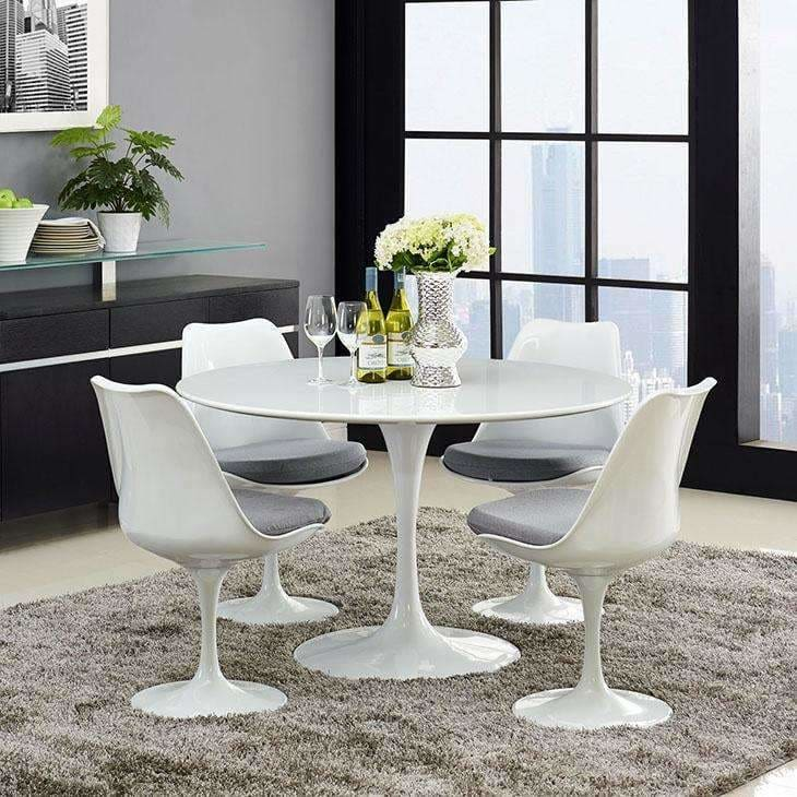 "Modway Furniture, Modway EEI-1118-WHI Lippa 47"" Round Wood Top Dining Table,"