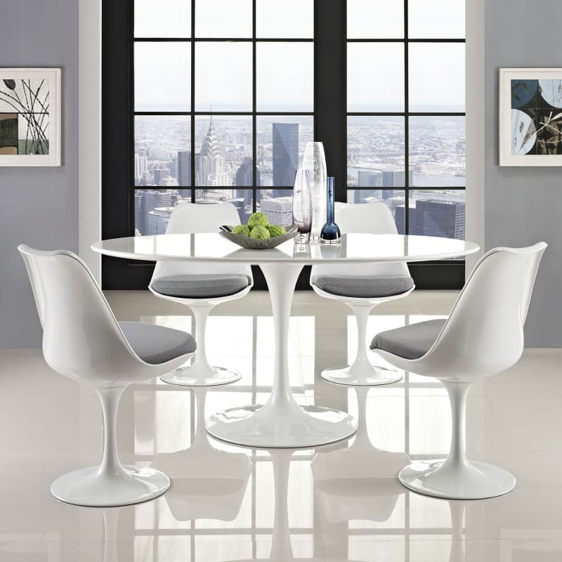 Lippa 60 Oval Wood Top Dining Table EEI-1121-WHI - Furniture > Tables > Kitchen & Dining Room Tables
