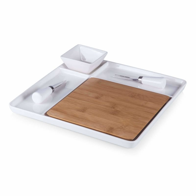 Picnic Time, Peninsula Cutting Board Serving Tray with Cheese Tools 953-05-505,