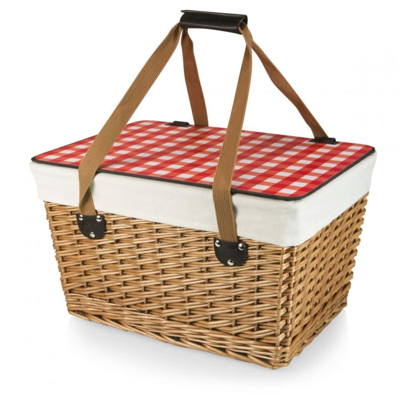 Picnic Time 119-00 Canasta Grande Wicker Basket - Red Gingham - Home & Garden > Kitchen & Dining > Food & Beverage Carriers > Picnic Baskets