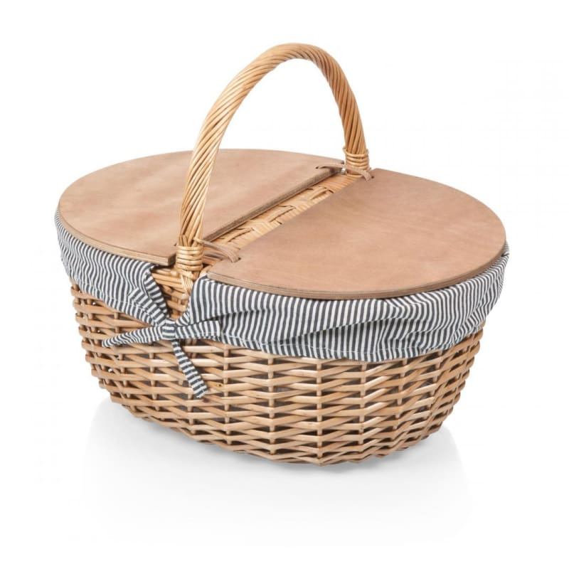 Picnic Time 138-00 Willow Country Picnic Basket - Navy & White Stripes - Home & Garden > Kitchen & Dining > Food & Beverage Carriers >