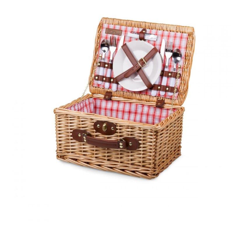 Picnic Time 140-10 Catalina Handwoven Picnic Basket - Red & White Plaid - Home & Garden > Kitchen & Dining > Food & Beverage Carriers >