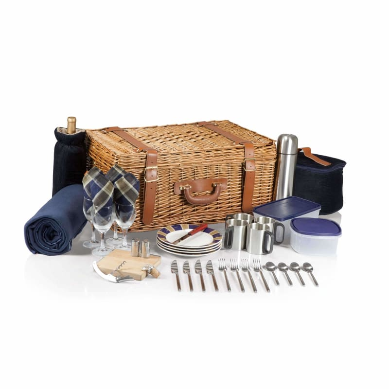 Picnic Time, Picnic Time 214-90-915 Windsor Picnic Basket Navy / Plaid,