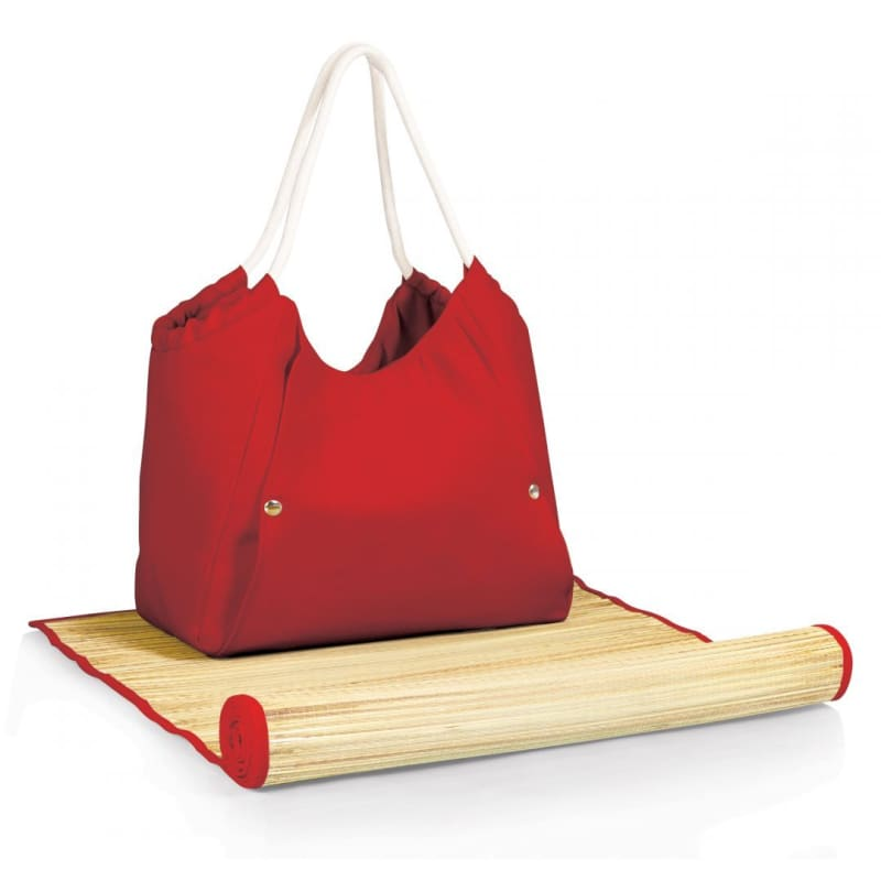 Picnic Time Beach Tote and Mat 638-00-100 red