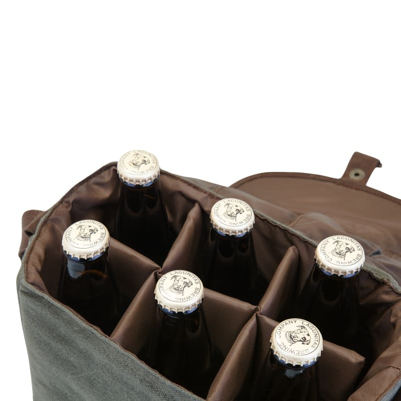Picnic Time Beer Caddy Cooler Tote with Opener Green / Brown 762-00-140