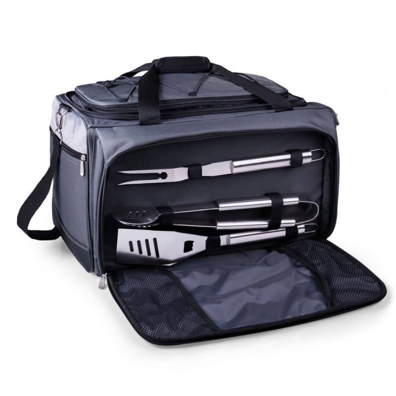 Only Picnic Time's Buccaneer features a PVC cooler that conveniently nests inside the compartment that houses the portable BBQ. The tote can carry the BBQ and a fully-loaded cooler at the same time!