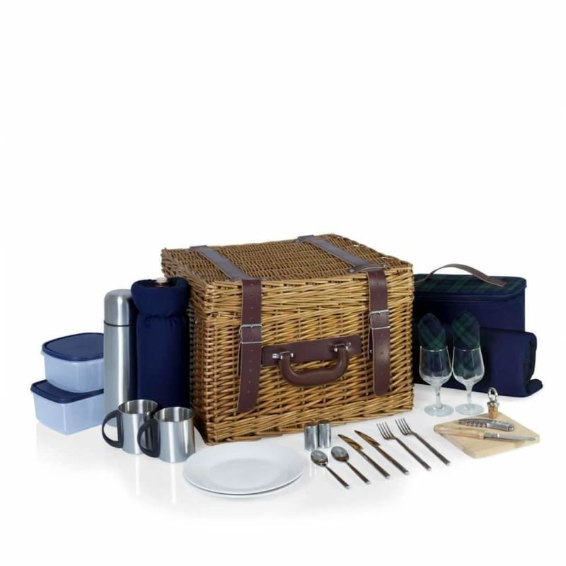 Picnic Time, Picnic Time Canterbury Picnic Basket Navy / Plaid 212-86-915,