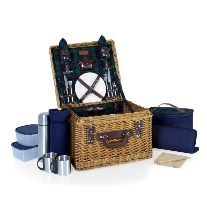Picnic Time Canterbury Picnic Basket Navy w/ Green Tartan 212-86-613
