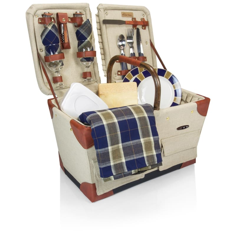 Picnic Time Pioneer Picnic Basket 346-76-916 Tan w/Navy/Khaki Plaid