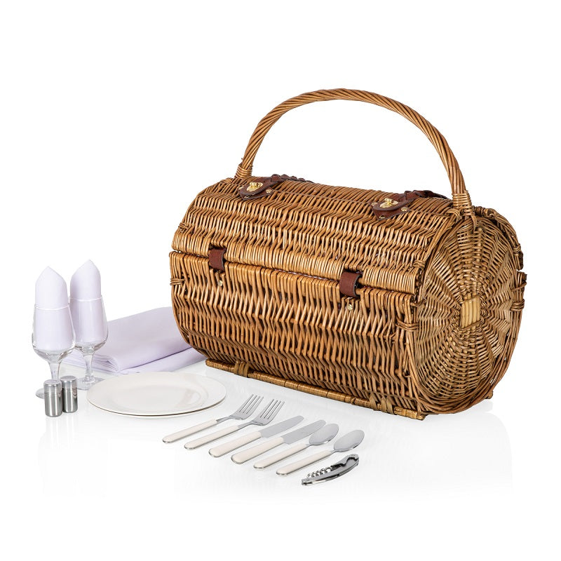 Picnic Time 223-25-300 Barrel Picnic Basket Red White Gingham Pattern
