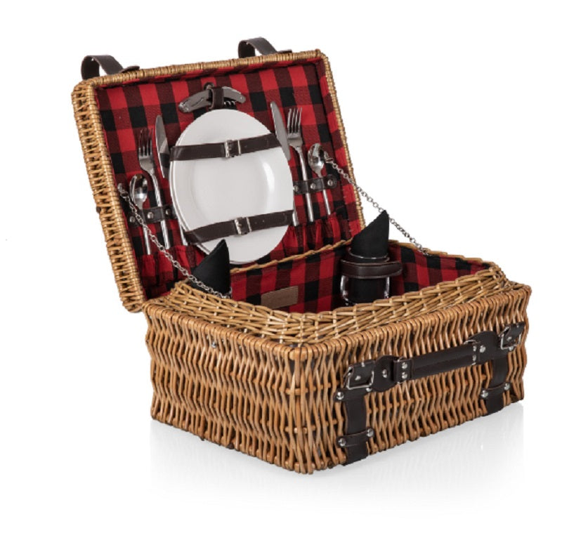 Picnic Time 208-40-406 Champion Picnic Basket Red & Black Buffalo Plaid Pattern