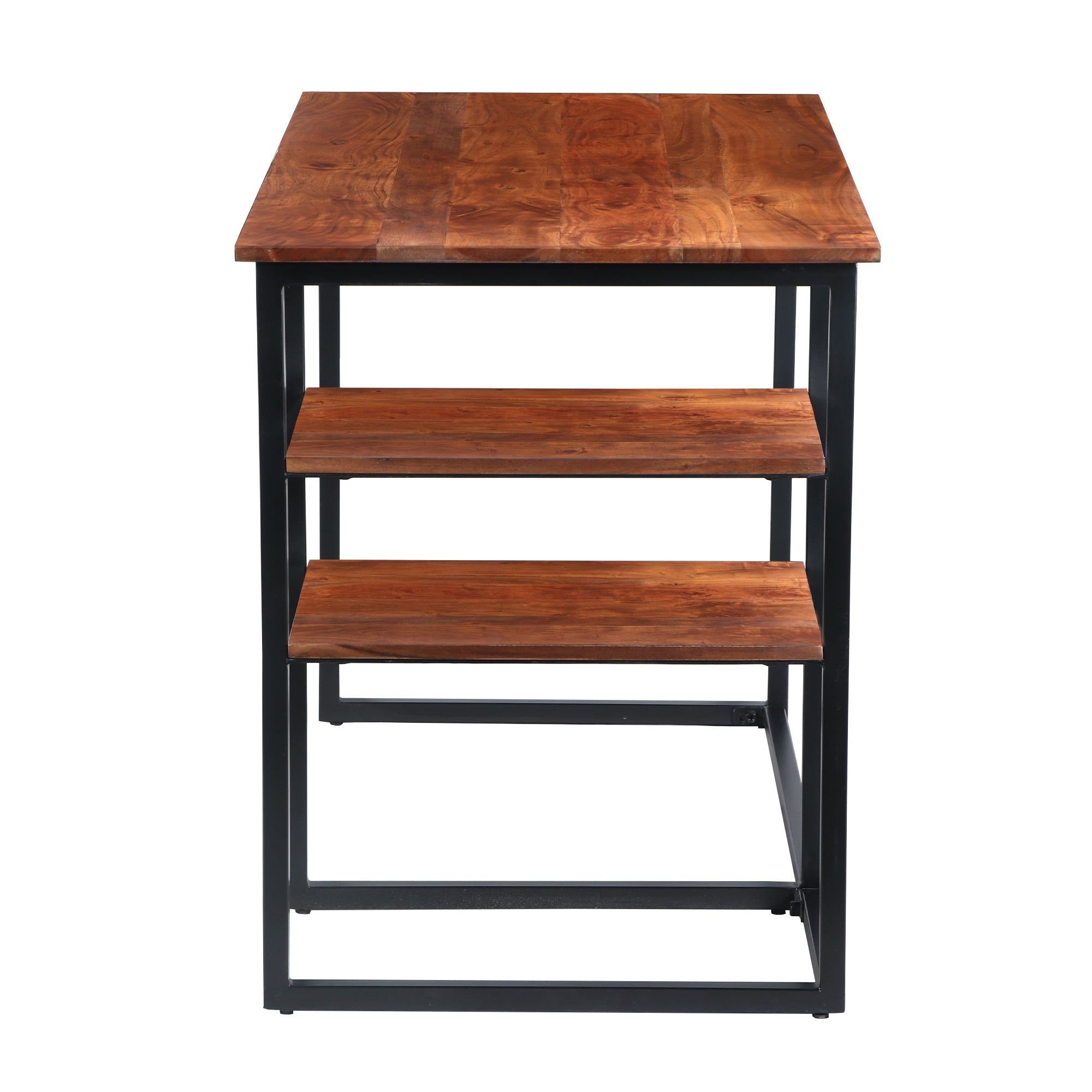 The Urban Port UPT-195123 Metal Frame Desk with Wooden Top