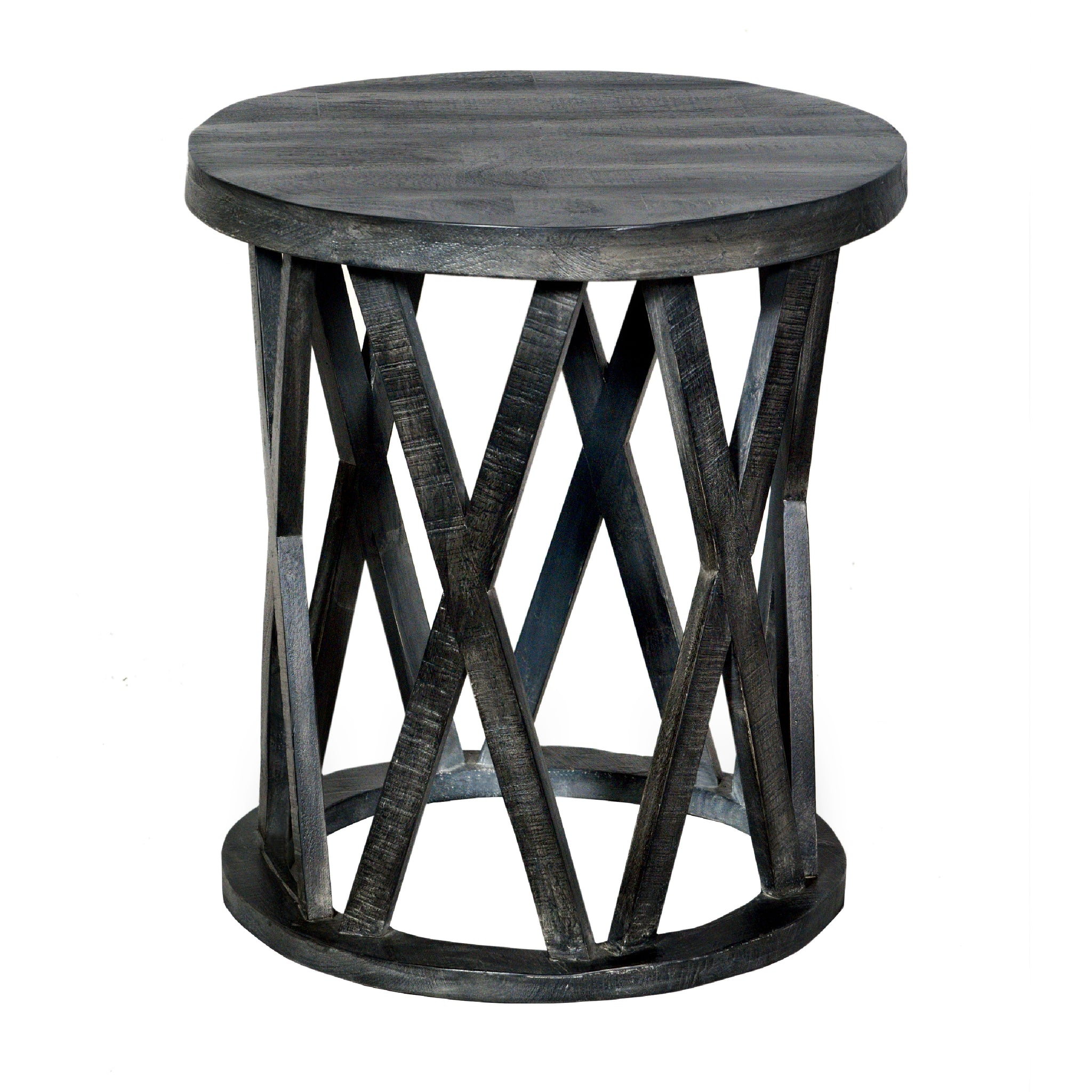 The Urban Port UPT-195129 Farmhouse Style Round Wooden End Table