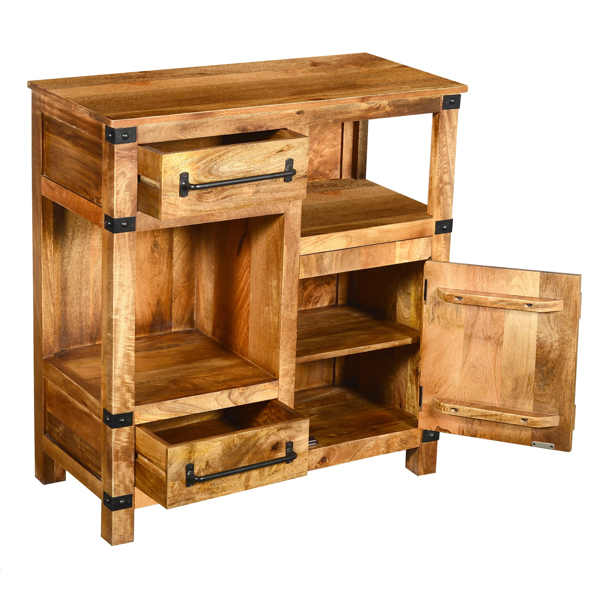 Urban Port UPT-195278 Wooden Cabinet with Drawers and Shelves