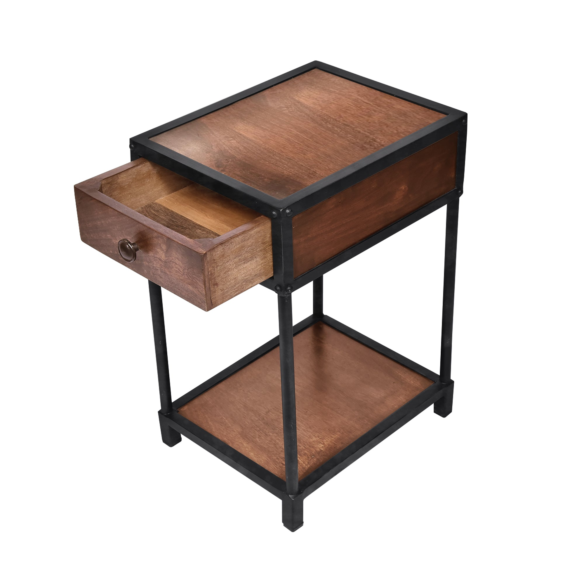 The Urban Port UPT-186119 Metal Framed Mango Wood End Table