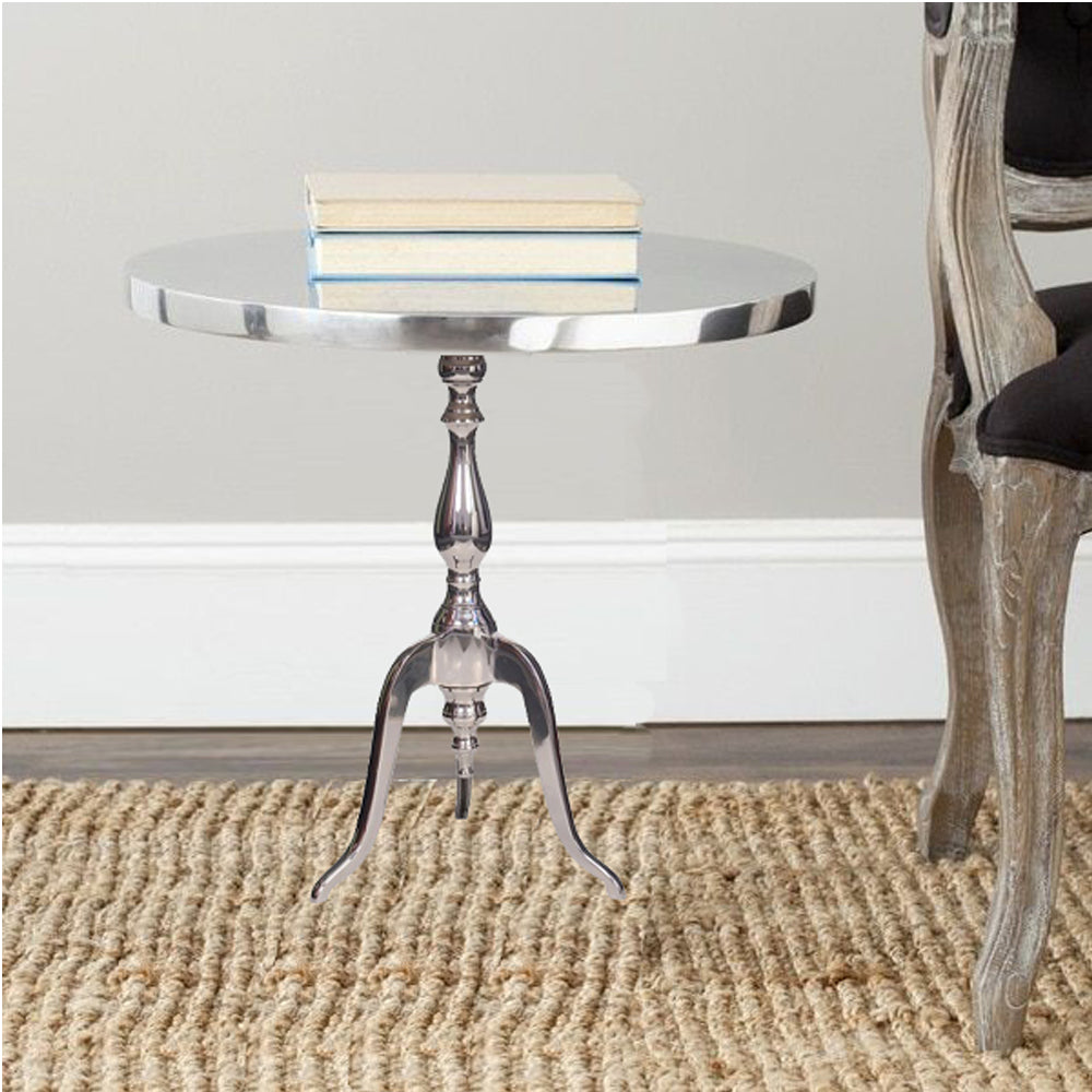Benzara BM01816 Aluminum Accent Table With Pedestal Base Silver