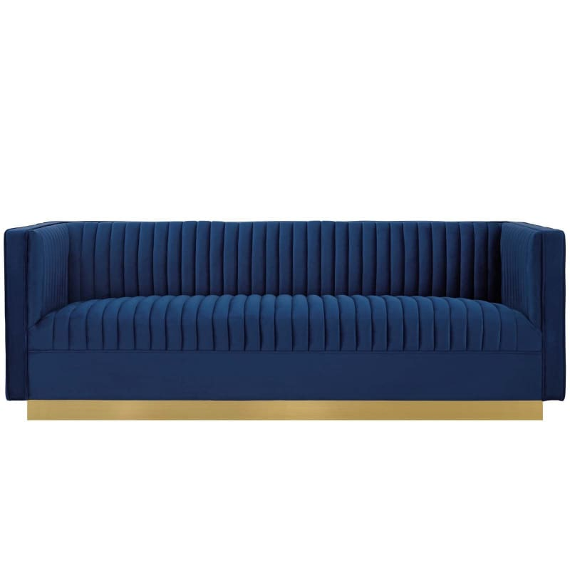 Sanguine Vertical Channel Tufted Performance Velvet Sofa EEI-3405 - Furniture > Sofas