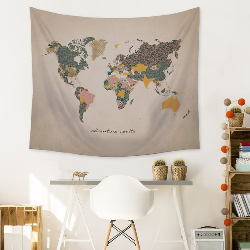 Stratton Adventure Awaits Map Wall Tapestry S07749