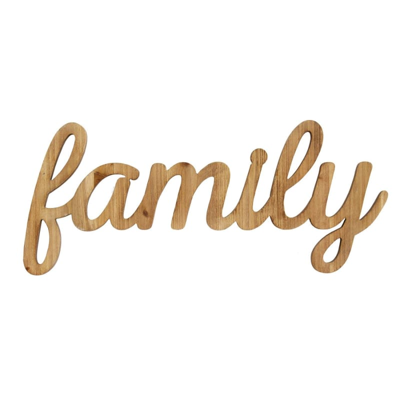 Stratton Family Natural Wood Script Wall Art S07755