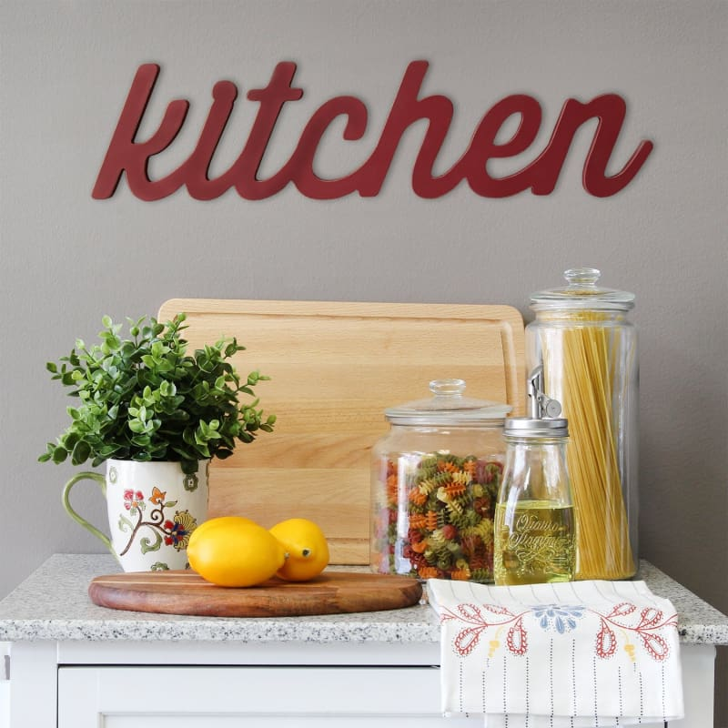 Stratton Red Kitchen Wood Word Decor S11581