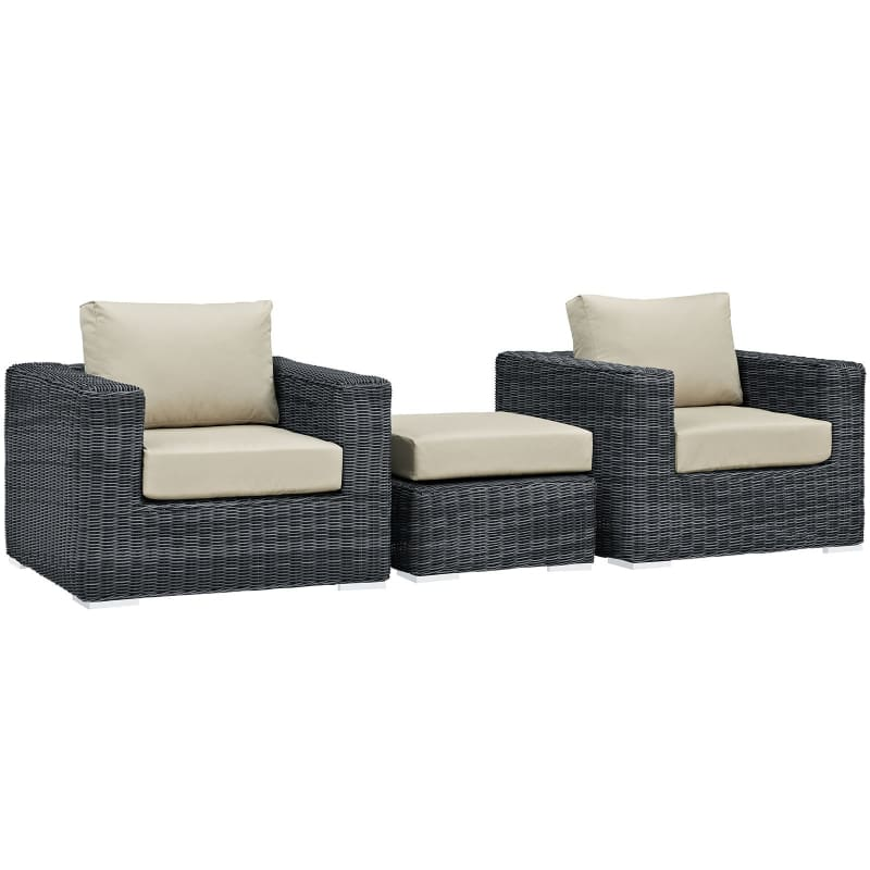 Summon 3 Piece Outdoor Patio Sunbrella® Sectional Set Canvas Antique Beige