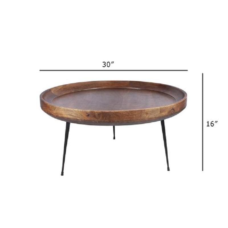 The Urban Port UP-183000 Round Mango Wood Coffee Table