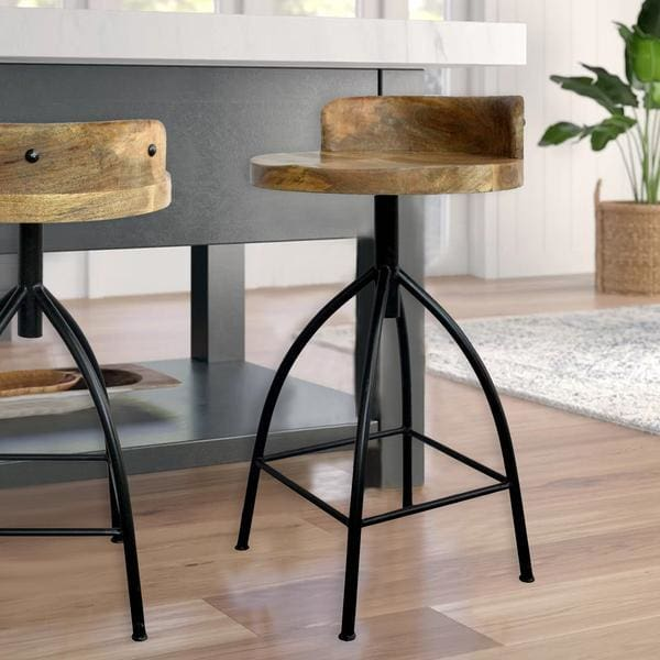 The Urban Port UPT-165867 Industrial Style Swivel Counter Height Stool