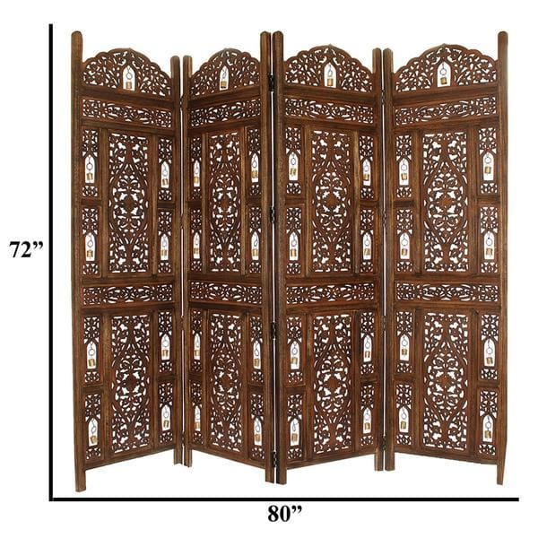 The Urban Port UPT-176787 Wooden 4 Panel Room Divider Screen