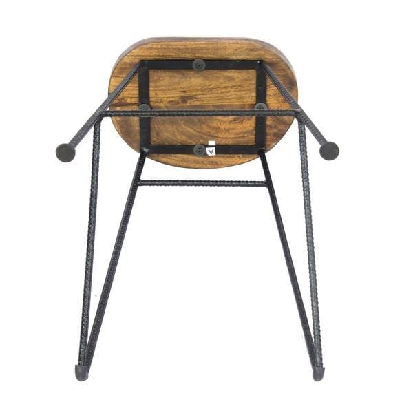 The Urban Port UPT-183797 Mango Wood Saddle Seat Bar Stool