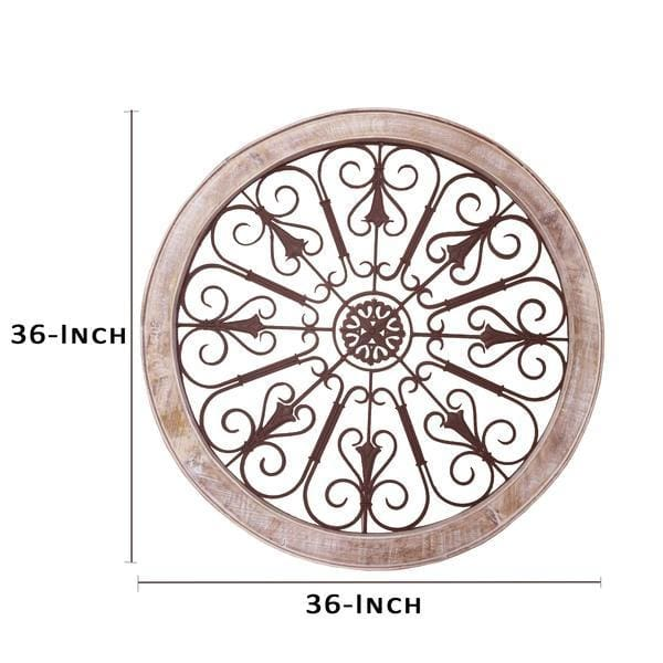 Benzara UPT-187976 Round Metal Scroll Wall Decor w/ Wooden Frame