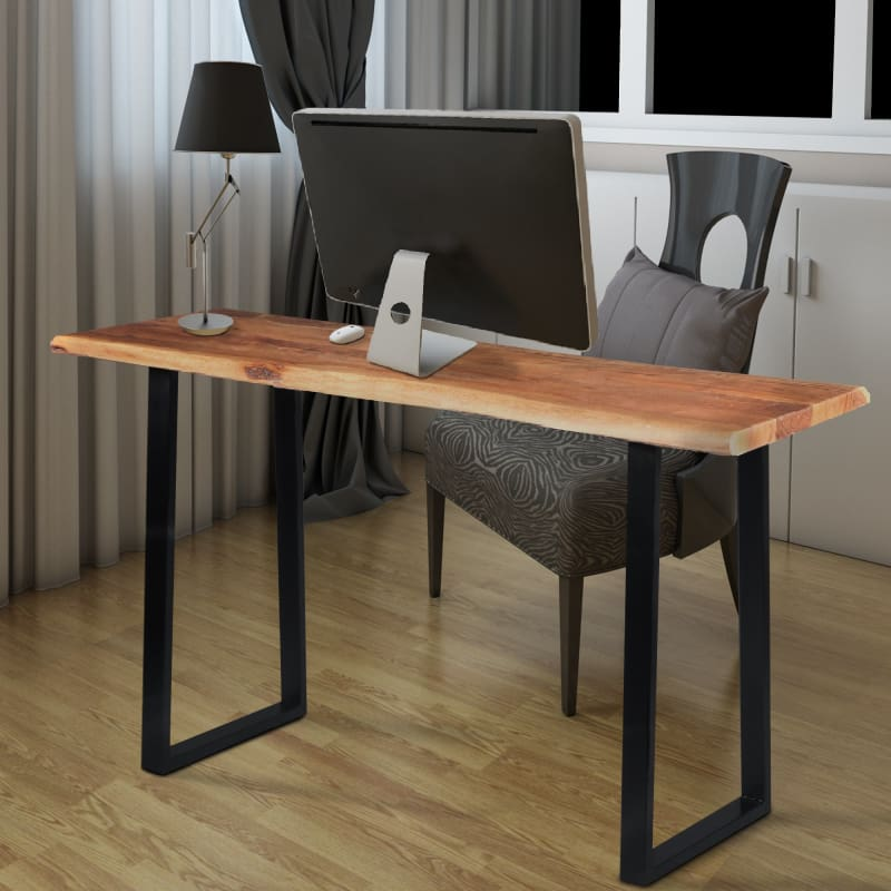 The Urban PortUPT-195122 Industrial Wooden Live Edge Desk with Sled Leg