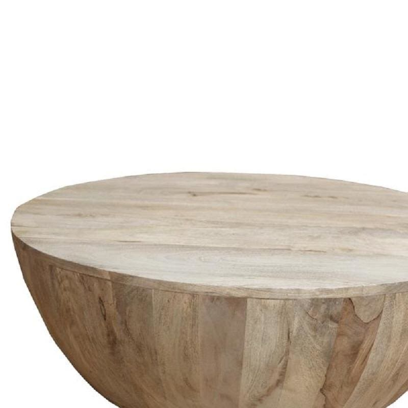 The Urban Port Mango Round Wood Coffee Table UPT-32181 Light Brown