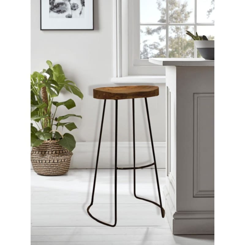 The Urban Port UPT-37900 Wooden Barstool With Iron Legs Long