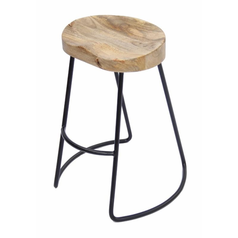The Urban Port UPT-37910  Wooden Barstool With Iron Legs Short