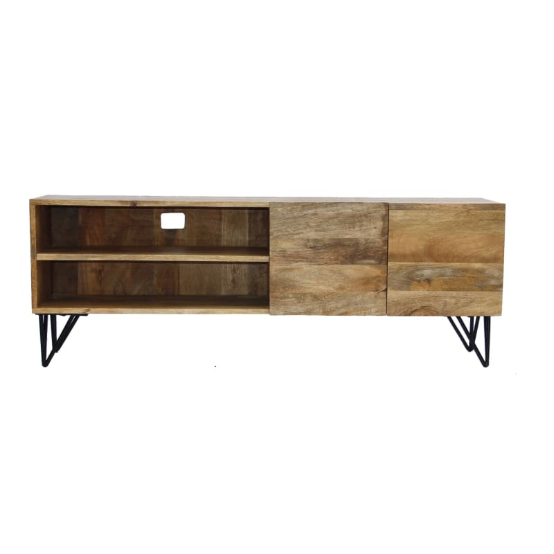 Industrial Style Mango Wood And Metal Tv Stand With Storage Cabinet Brown