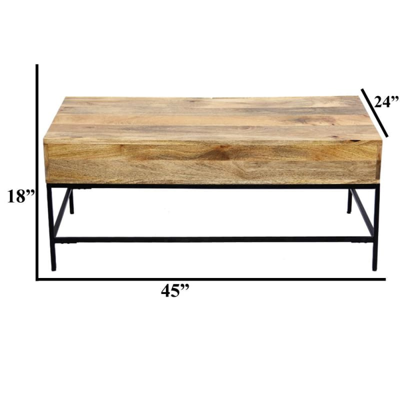 The Urban Port -39290 Mango Wood Coffee Table w/ 2 Drawers