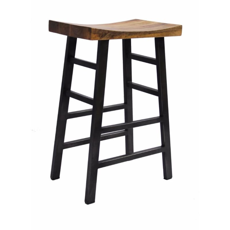 The Urban Port Wooden Saddle Seat Barstool With Ladder Base UPT-636042216
