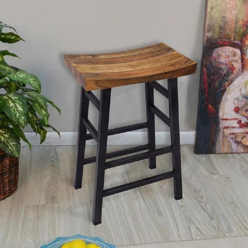 The Urban Port Wooden Saddle Seat Barstool Ladder Base UPT-636042216
