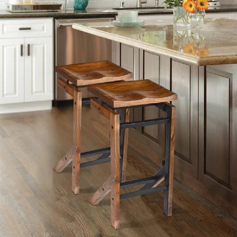 Urban Port UPT-191450 Metal Frame Wood Bar Stool w/ Saddle Seat