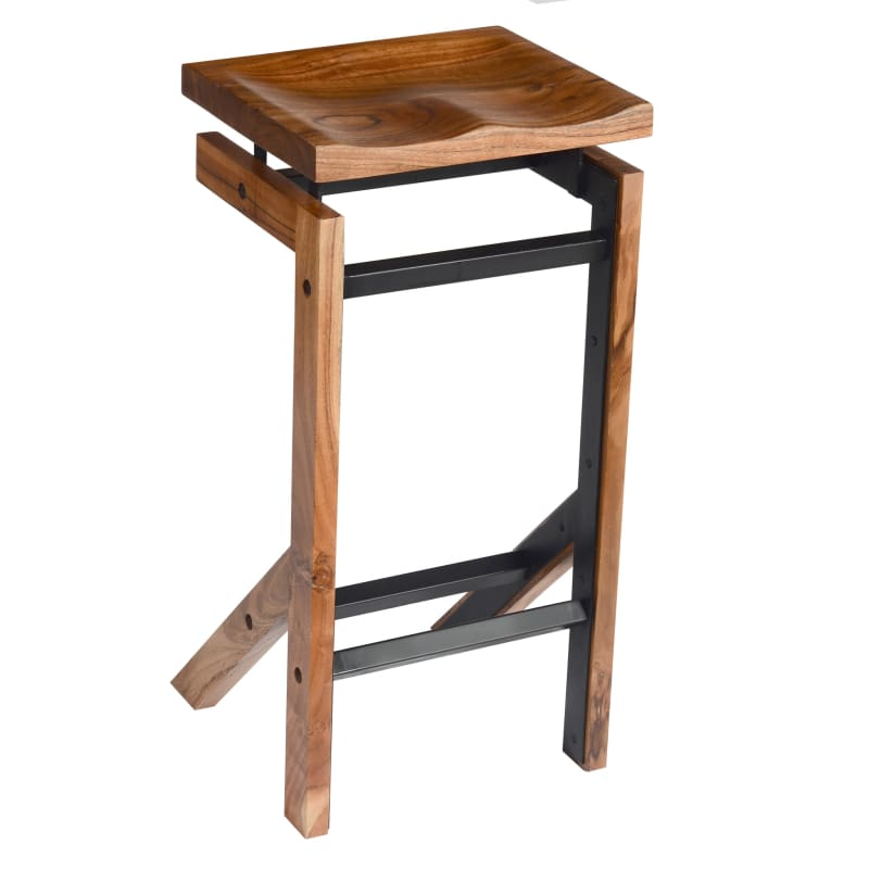 29 Inch Metal Frame Acacia Wood Bar Stool with Saddle Seat Brown and Black