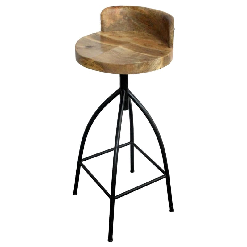 Industrial Style Adjustable Swivel Bar Stool With Backrest