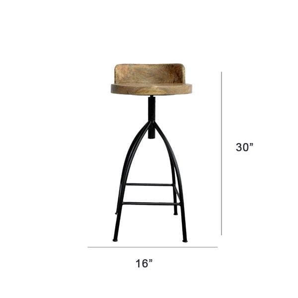 The Urban Port UPT-165868 Industrial Style Swivel Bar Stool W/ Backrest