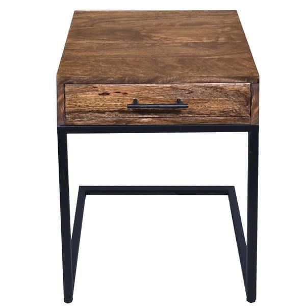 Urban Port UPT-186118 Mango Wood Side Table With Drawer and Iron Base