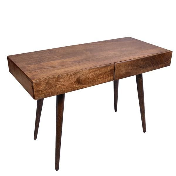 Mango Wood Writing Desk with Two Drawers and Tapered Legs Brown