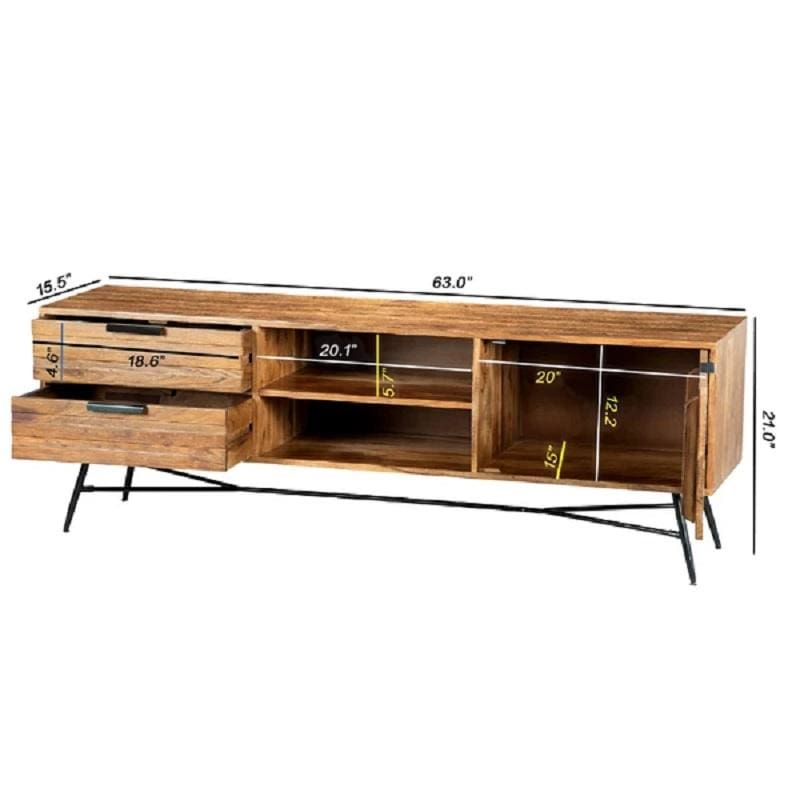 Urban Port UPT-195125 Wooden Media Console w/ Slanted Metal Base