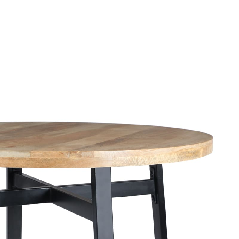 Urban Port UPT-195277 Round Mango Wood Dining Table with Iron Leg
