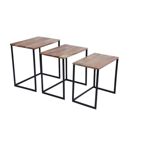 Industrial Style Wooden Nesting Coffee End Tables- Set Of 3 UPT-69000